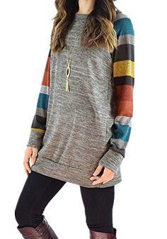859c7ab0e5 Poulax Women s Cotton Knitted  LongSleeve Lightweight Tunic Sweatshirt   Tops.  amazon  theladybuff