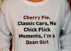 Supernatural Dean Winchester Long Sleeved T-Shirt. I'm A Dean Girl. Customize To Size And Color. on Etsy, $20.00