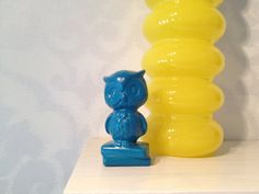 Adorable Turquoise Ceramic Owl Siting Atop a by MakeoverAddict, $7.99