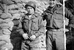 Ron Rosser, recipient of the Congressional Medal of Honor with fellow soldier in Korea, ca. 1952 - 1953. Rosser was a corporal with the Heavy Mortar Unit, 38th Infantry Regiment, 2nd Infantry Division, United States Army. During service in the Korean War he received the Congressional Medal of Honor for his single handed attack on enemy bunkers.