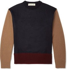 MarniColour-Block Wool and Cashmere-Blend Sweater
