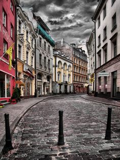Riga. He spend the day, winding around the cobbled streets and sensing the colours of the houses.