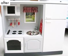 Love the kids kitchen made from an old TV hutch. @Sherry @ Young House Love