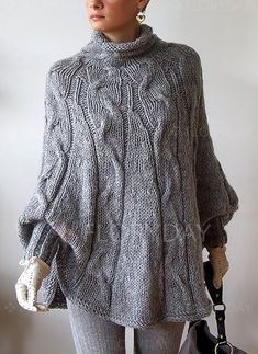 Wool Blends High Neckline Solid Loose Sweaters - Floryday