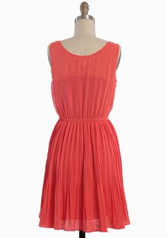 Parkway Pleated Dress In Coral | Modern Vintage Dresses