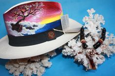 @@@BlackCoral4you Panama Hat ART Original and Black Coral Nature