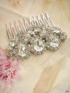 Bridal headpiece wedding Rhinestone Hair Comb  Bridal by Hinuma, $40.00