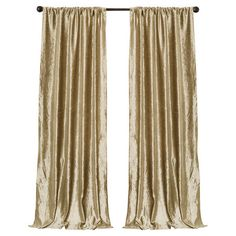 Faux velvet curtain in gold.   Product: Set of 2 curtainsConstruction Material: 100% PolyesterColor...