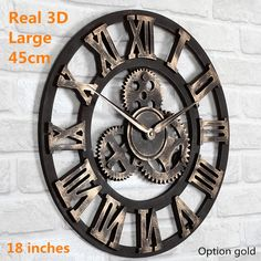 Main surdimensionné grande rétro rustique art de luxe décoratif millésime gros engin bois horloge murale 3D grand sur le mur pour le cadeau(China (Mainland))