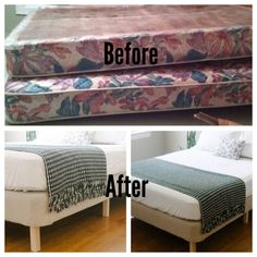 DIY (Do-it-yourself) Platform Bed Ideas, Bed Frame from a Box Spring Diy Modern Bed, Fold Out Couch, Diy Bed Frame, Bed Frames, Box Spring Bed Frame, Box Spring Cover, Diy Home Decor, Room Decor, Home Decor