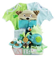 It is a simple as ABC! This Gift Basket contains baby blankets, tub towels, a piggy bank and even a burp pad! Gourmet Gift Baskets, Green Hats, Receiving Blankets, Baby Socks, Classic Toys, Piggy Bank, Gift Wrapping, Gifts, Handmade