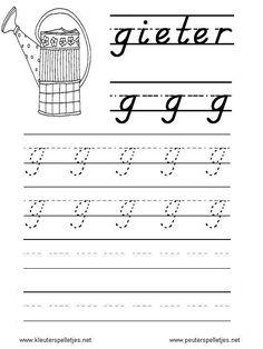 LETTER G | letters leren herkennen en schrijven, alfabet printbladen a t/m z