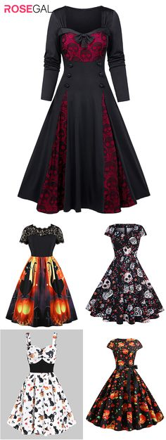 Free shipping over $45, up to 75% off, Rosegal women spooky Halloween costume dress vintage skull printed  Halloween dresses ideas | #rosegal #Halloweencostume #womenfashion Halloween Fashion, Halloween Dress, Spooky Halloween Costumes, Vintage Halloween, Pretty Dresses, Beautiful Dresses, Maquillage Halloween, Costume Dress, Gothic Fashion