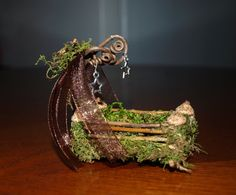 OOAK Mini Fairy Rocking Cradle Bed Miniature by BlueStarEmporium