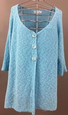 LULU-B Scoop Neck Cardigan, Comfortable Fit, 3/4 Sleeve, Cotton, Aqua Green, XL #LULUB #Cardigan