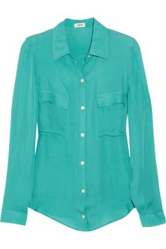 L'Agence's turquoise silk-georgette blouse