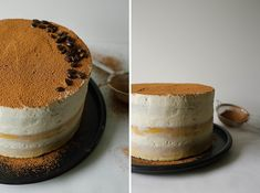 Tiramisu Cake Recipe By Kate Wood of thewoodandspoon.com // Three layers of moist vanilla yellow cake soaked in espresso and coffee liquor and topped with a mascarpone cream cheese whipped cream frosting. Just like the classic Italian tiramisu recipe but fancy enough for a celebration or party. This is a great boozy dessert to share with friends! The Wood and Spoon Blog.