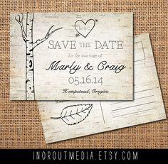 Woodland Wedding Save the Date Card - Vintage, Rustic, wood, trees, wood grain, bark, birch trees, woodland, woods, save the date