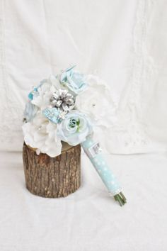 Winter Wonderland Bouquet Snowflake Wedding Ice by FabbCreations