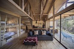 Inspired by traditional Chilean architecture, Casa La Quimera is a wooden house designed by architect Carlos Torres Alcalde. Wood Architecture, Architecture Details, Spacious Living Room, Living Spaces, Ideas Cabaña, Wooden House Design, Interior And Exterior, Interior Design, Black Exterior