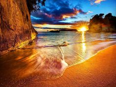 New Zealand, Cathedral Cove Beach Sunrise.