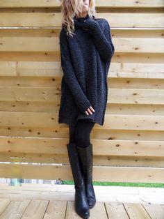 Oversized , Chunky knit sweater. Slouchy/Bulky / Loose knit sweater. Black…