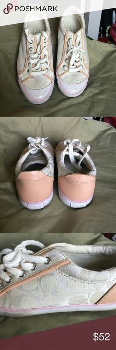 AUTHENTIC Logo Coach Tennis Shoes Gorgeous Champaign colored sneakers. You very rarely see this color. They are so beautiful...they go with everything & can hardly tell they were worn! EUC White with a dash of cream & a smidge of pink. An absolutely gorgeous combination! Coach Shoes Sneakers