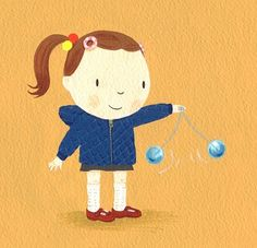 Clackers! Do you remember clackers? When they were banned from school, my mom figured they were just too dangerous and I never saw mine again! I love this illustration by Jane Massey.