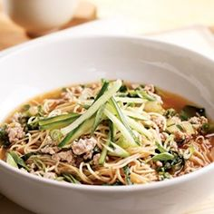 Brothy Chinese Noodles - EatingWell.com AC: I made this with eggs and the green onions and a little soy sauce in the eggs cooked in regular oil and then the broth with all the other ingredients. It was fantastic! No cucumber garnish though.
