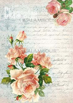 MULBERRY PAPER, LITTLE SIZE,  CALAMBOUR,VINTAGE WORD, DECOUPAGE,  DECORATION ,ROSES, TT09