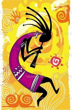 Kokopelli. Arte Tribal, Tribal Art, American Indian Art, Native American Art, Kunst Der Aborigines, Afrique Art, Dancing Figures, Art Premier, Free Art Prints