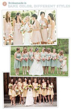 Bridesmaids Dresses - same color, different dress styles