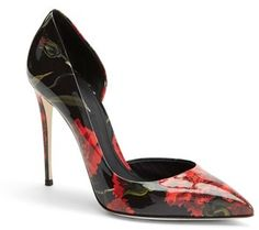 31eda968d958 Dolce  amp  Gabbana Dolce amp Gabbana Floral Print Patent Leather Half  d Orsay Pump