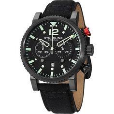 Stuhrling Original Men's Concorso GTP Quartz Black Canvas Strap Watch (Stuhrling Original Men's Watch), Size 24