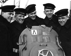 The five Sullivan Brothers. On board USS Juneau (CL-52) at the time of her commissioning ceremonies at the New York Navy Yard, February 14, 1942. All were lost with the ship following the November 13, 1942 Naval Battle of Guadalcanal. The brothers are (from left to right): Joseph, Francis, Albert, Madison and George Sullivan.Commemorated by the present USS The Sullivans (DDG 68).