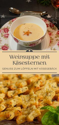 Festive wine soup with cheese stars - A little pinch of Anna- Festliche Weinsuppe mit Käsesternen – Eine kleine Prise Anna A festive soup – not just for Christmas. Creamy and light – ideal as a delicious starter. Healthy Low Carb Recipes, Healthy Dinner Recipes, Healthy Snacks, Snack Recipes, Wrap Recipes, Fall Recipes, Yummy Appetizers, The Best, Food And Drink