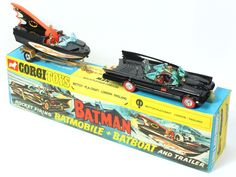 "Corgi Gift Set 3 Batmobile and Bat boat rare variation with ""revised Specification"" sticker featuring ""Red Scorching Wheels"" Childhood Toys, Childhood Memories, Antique Toys, Vintage Toys, Corgi Gifts, 1960s Toys, Old School Toys, Corgi Toys, Matchbox Cars"