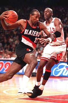 05c3c3a265be Clyde Drexler driving on Jordan Sports Basketball