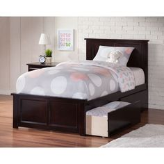 Atlantic Madison Espresso Bed with Matching Footboard and 2 Urban Bed Drawers