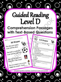 Reading Comprehension Passages ~ Guided Reading Level D! Enter for your chance…