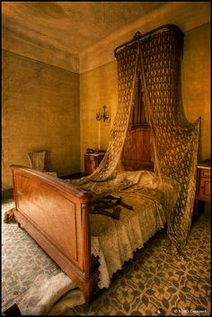 Abandoned Castle, Spain - Master Bedroom so...was it maybe contaminated by disease of some kind? why was it left with bedding etc.? waste