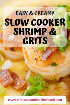 How To Cook Grits, How To Cook Shrimp, Slow Cooker Recipes, Crockpot Recipes, Cooking Recipes, Easy Recipes, Shrimp Slow Cooker, One Pot Meals, Easy Meals