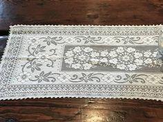 Vintage White Cotton Floral Table Runner Lace Edging Vintage