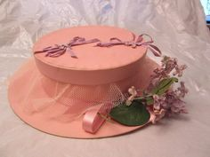 Vintage Pink Spring Hat LOFT Candy Co Box Holder Container w/ Flowers Ribbon #LoftsCandy