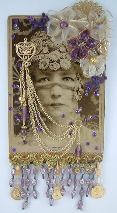 """Altered Cabinet Card - To see more of my art, signup to win my art, download free images, and learn new techniques checkout my Blog """"Artfully Musing"""" at http://artfullymusing.blogspot.com"""