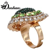 Duohan Latest Zirc Alloy Crystal Rhinestone Fashion New Trend Statement Women Adjustable Finger Ring Adorable Gift for Female  #Affiliate