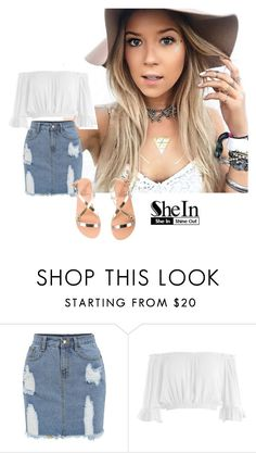 """""""Denim Pencil Skirt - SHEIN"""" by inesfragosa ❤ liked on Polyvore featuring Sans Souci and Ancient Greek Sandals"""
