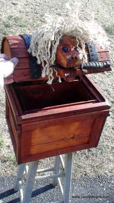 Our Pirates skull treasure chest will be at our Brimfield Antique Show in May 2016 .. and be careful... that's a real 9 inch long pirate knife    www.carafdesigns.com