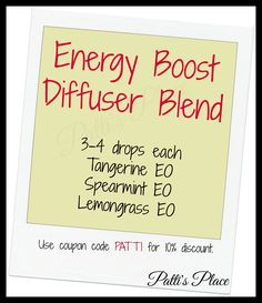 Energy Boost Diffuser Blend with tangerine, spearmint, and lemongrass essential oils