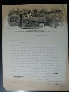 Letterhead from The Welch Folding Bed Co. - 1908